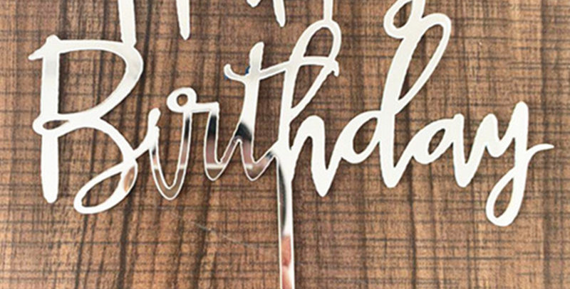TBS Accessories - Acrylic Cake Topper Happy Birthday Silver
