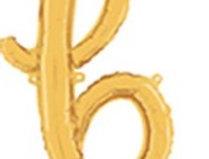 "TBS Foil - 18"" B Script style Gold Balloon"