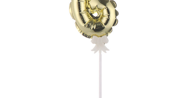 "TBS Foil - 5"" Number Cake Topper Gold 6"