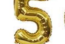 "TBS Foil - 16"" Number Foil Gold Balloon 5"