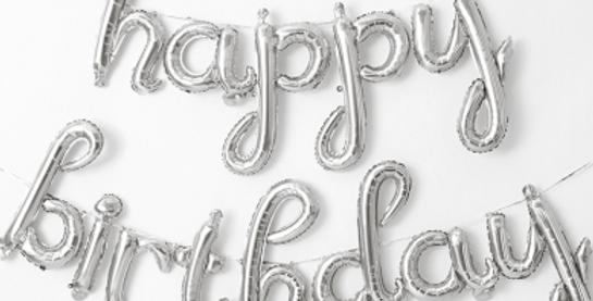 TBS Foil - Silver HBD Balloon Banner