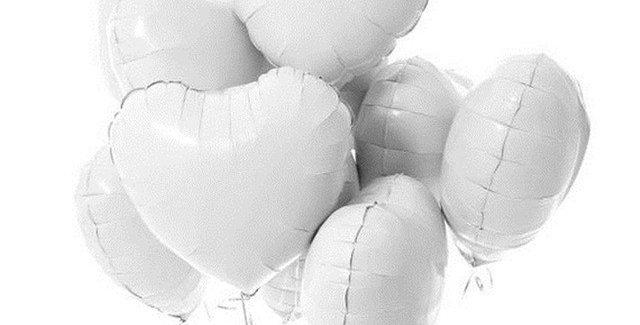 """TBS Foil - 18""""White Heart Foil Balloons"""