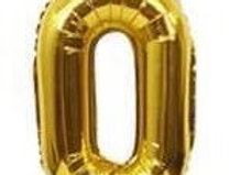 "TBS Foil - 16"" Number Foil Gold Balloon 0"