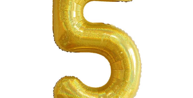 "TBS Foil - 40"" Number Foil Gold Balloon 5"