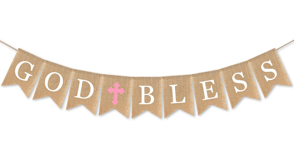 TBS Accessories- God Bless  Burlap Banner_Pink
