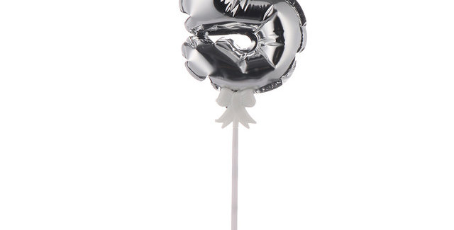 """TBS Foil - 5"""" Number Cake Topper Silver5"""