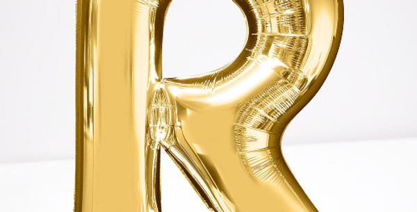 """TBS Foil - 16"""" R Gold Balloon"""