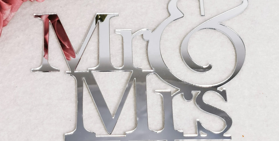 TBS Accessories - Acrylic Cake Topper_Mr&Mrs Silver