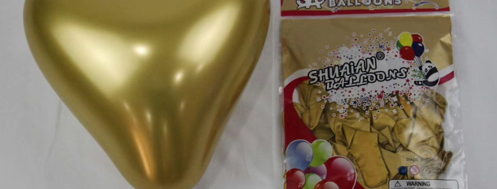 "TBS Latex-10"" Gold Chrome Heart Balloon 20pcs/pack"