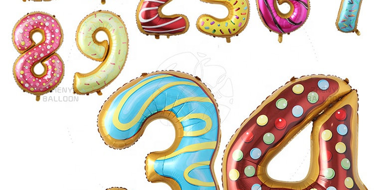 """TBS FOIL- 34"""" Candy/Donut Number Foil  Balloon #9"""