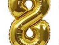 "TBS Foil - 16"" Number Foil Gold Balloon 8"