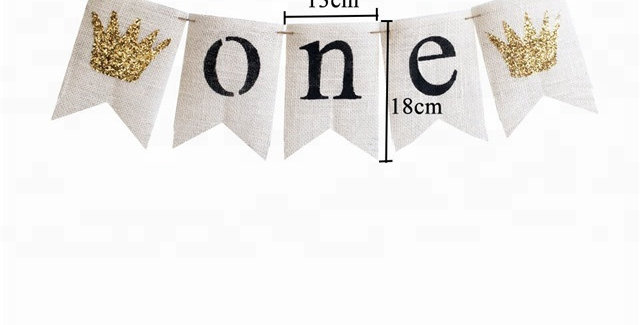 TBS Accessories- Glittered Crown ONE Banner White Jute