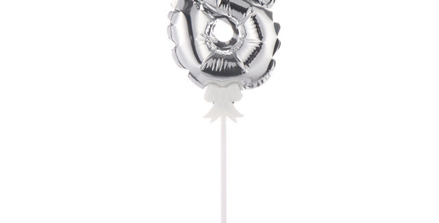 """TBS Foil - 5"""" Number Cake Topper Silver8"""