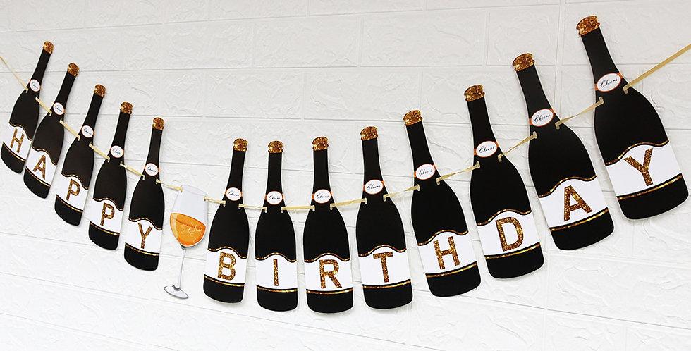 TBS Accessories- Happy Birthday_Black Wine Bottle