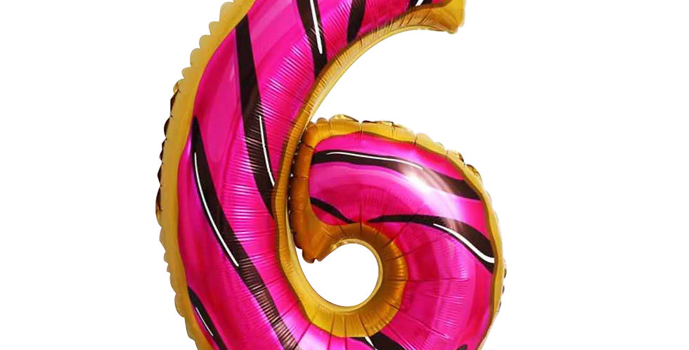 "TBS FOIL- 34"" Candy/Donut Number Foil  Balloon #6"
