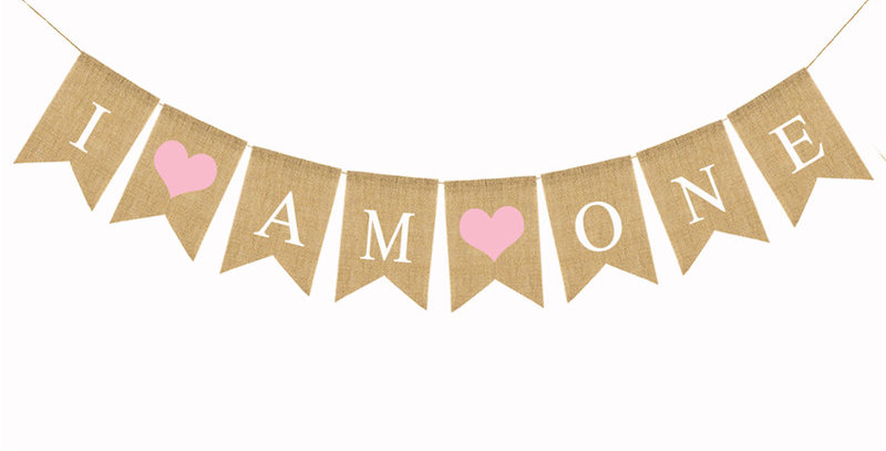 TBS Accessories- I AM ONE Burlap Banner Pink