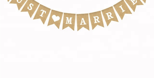 TBS Accessories- Just Married Burlap Banner