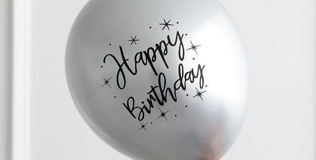 "TBS Latex - Printed Happy Birthday Balloon Silver 12"""