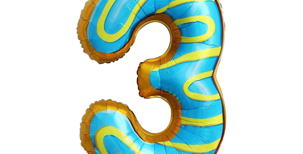 """TBSFoil - 34"""" Candy/Donut Number Foil  Balloon #3"""