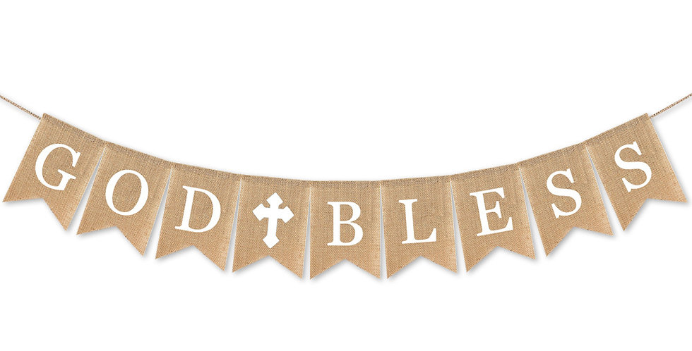 TBS Accessories- God Bless  Burlap Banner_White