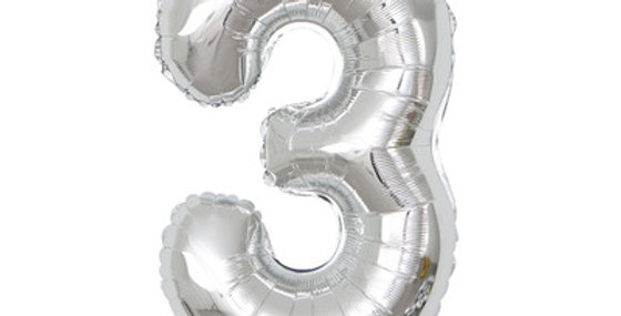 "TBS Foil - 40"" Number Foil Silver Balloon3"