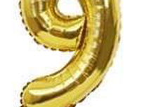 "TBS Foil - 16"" Number Foil Gold Balloon 9"