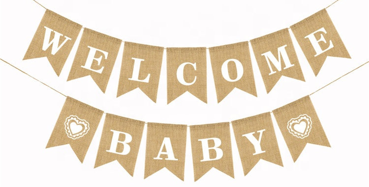 TBS Accessories- Welcome Baby  Burlap Banner