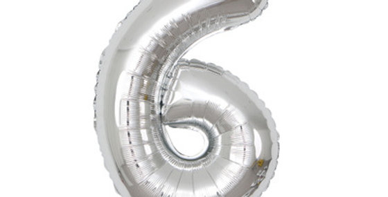"""TBS Foil - 40"""" Number Foil Silver Balloon6"""