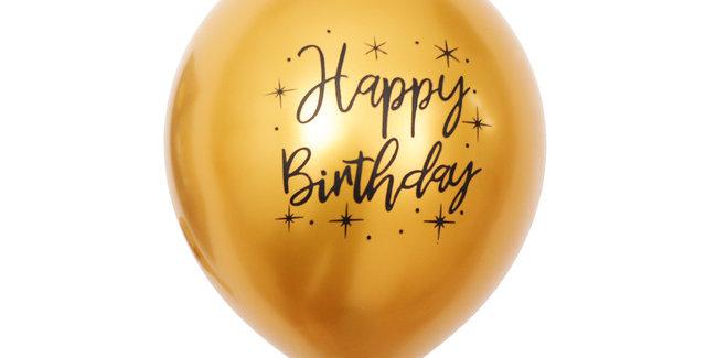 "TBS Latex - Printed Happy Birthday Balloon Gold 12"""
