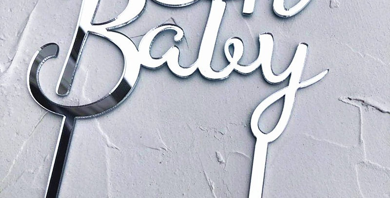 TBS Accessories - Acrylic Cake Topper Oh Baby Silver