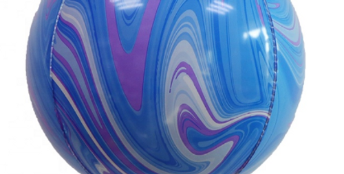 """TBS Latex - Blue Agate Pattern Balloon 22"""""""