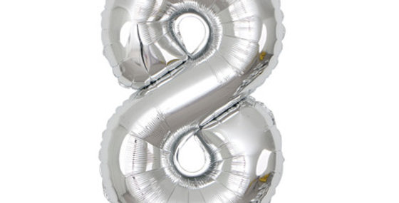 """TBS Foil - 40"""" Number Foil Silver Balloon8"""