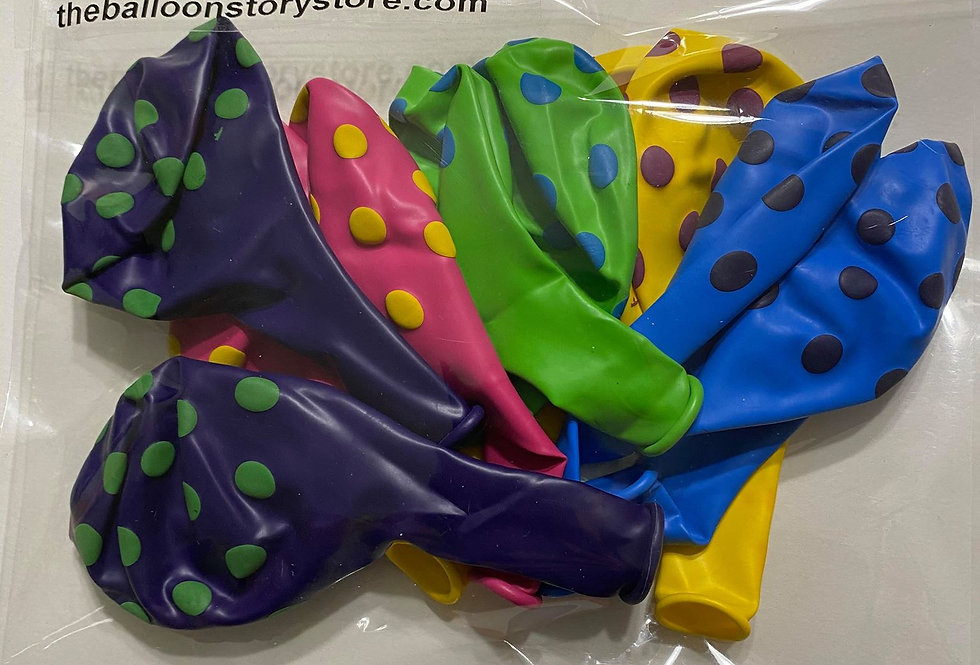 TBS Latex-Multicolored Polkadots 10pcc/pack Balloon