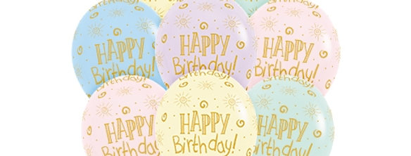 TBS Latex-Asst Pastel Happy Birthday Balloons10pcs/set