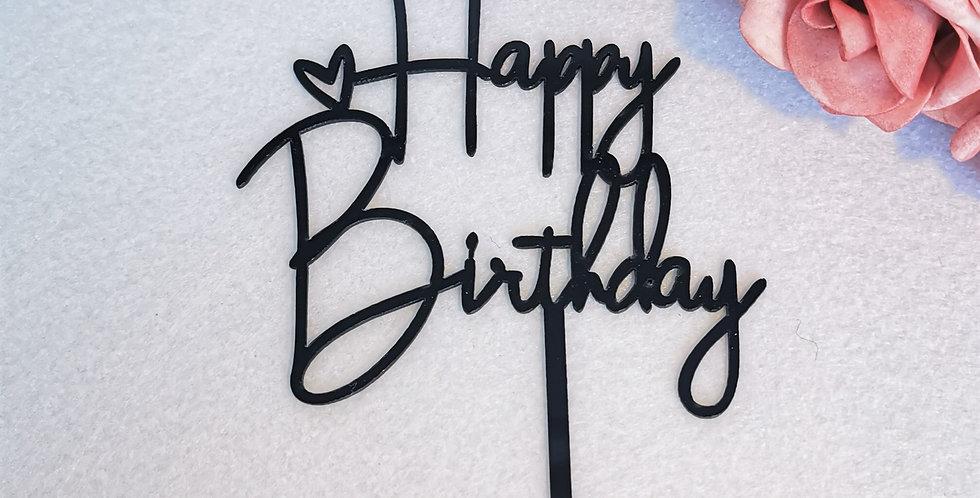 TBS Accessories - Acrylic Cake Topper Happy Birthday Black