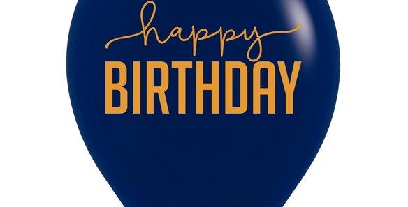 TBS Latex-Navy/Gold Happy Birthday Balloon
