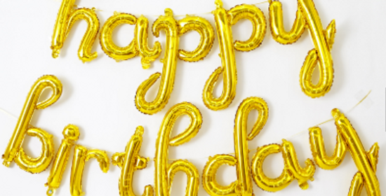 TBS Foil - Gold HBD Balloon Banner
