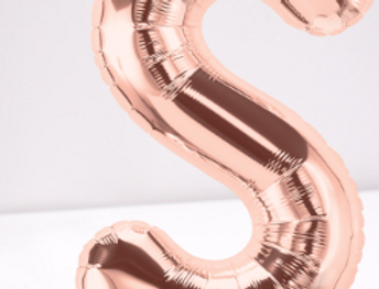 TBS Foil - S Rose Gold Letter Balloon