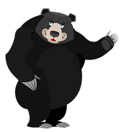 black grey bear happy arm up.png
