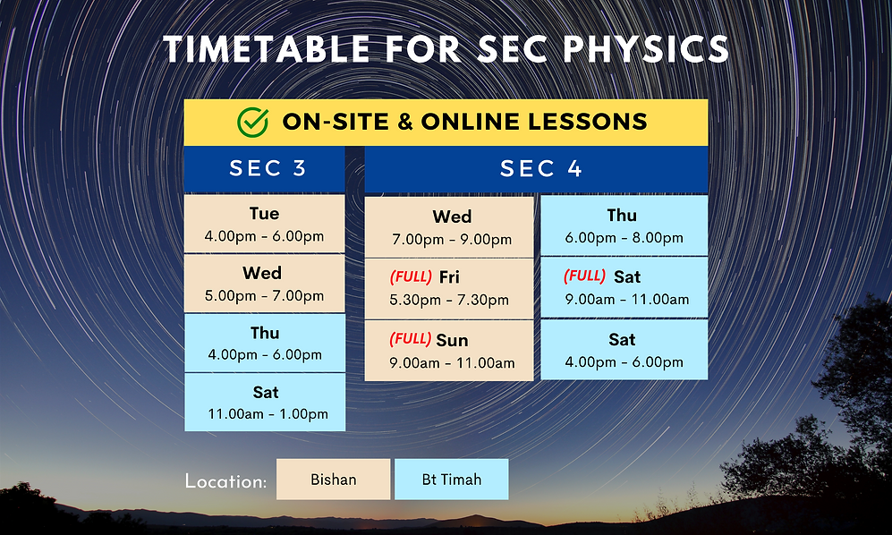 Timetable for Secondary Physics   On-site and online lessons available