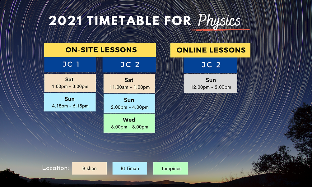 2021 Timetable for JC Physics   On-site and online lessons available
