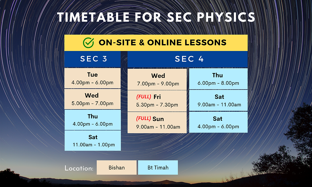 Timetable for Secondary Physics | On-site and online lessons available