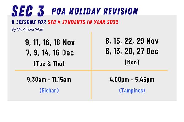 SG POA   Sec 3 (O Level- Express, NA) POA Holiday Revision Programme (Nov & Dec 2021)