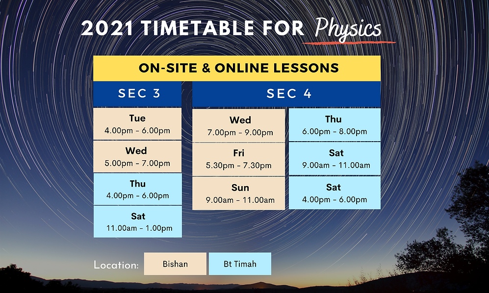 2021 Timetable for Secondary Physics   On-site and online lessons available