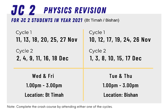 SG Physics Year-End Holiday Crash Course for JC 2 students | Nov & Dec 2020