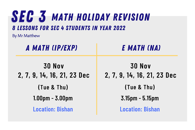 O Level A Math E Math Holiday Revision Nov&Dec 2021