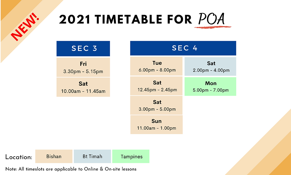 POA tuition timetable for 2021   Ex-MOE