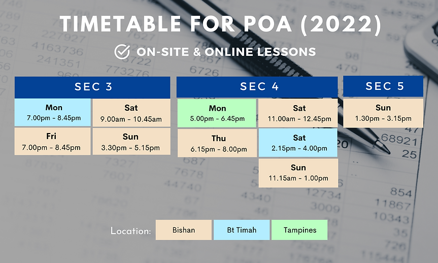 SG POA Express NA Tuition Schedule 2022
