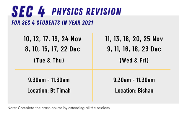 SG Physics Year-End Holiday Crash Course for Sec 4 students | Nov & Dec 2020