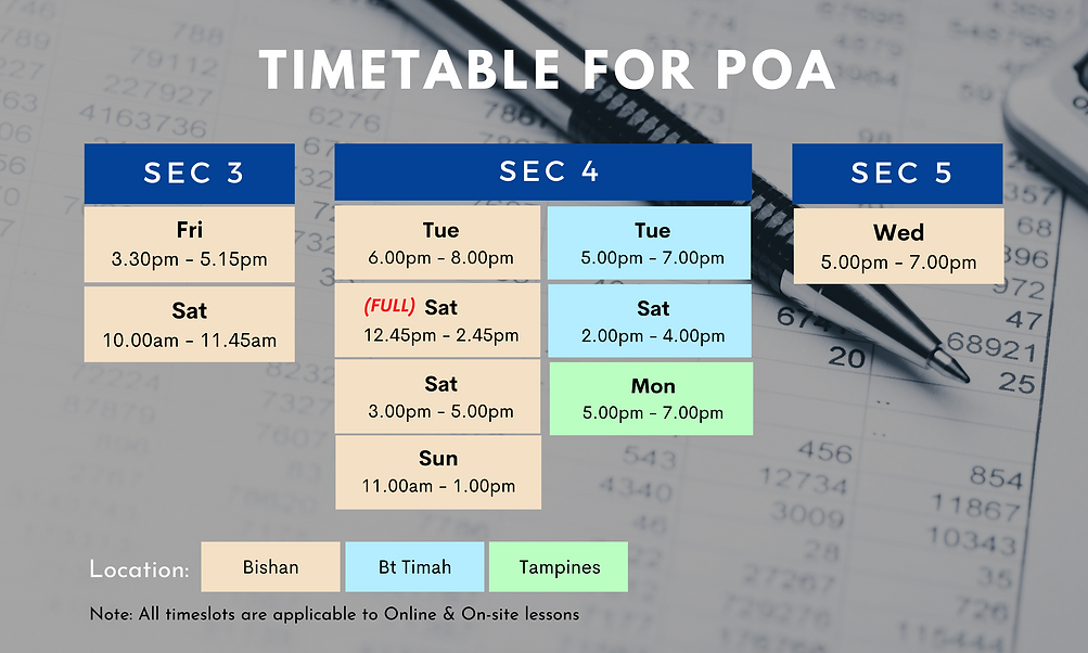 Timetable for Principles of Accounts   On-site and online lessons available